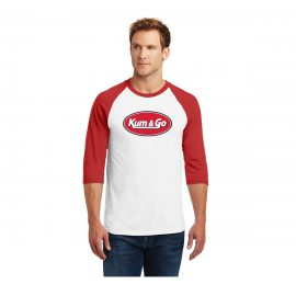KG0320 Red Kum Go Logo Baseball Tee Model