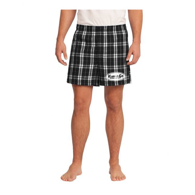 KG0320 Plaid Kum Go Logo Boxers Model