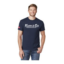 KG0320 Navy Kum Go Lined Logo Tee Model