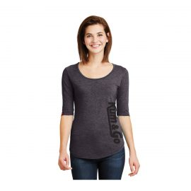 KG0320 Heather Grey Kum Go Ladies Scoopneck Tee Model