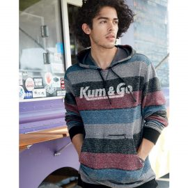KG0720 Printed Stripes Hooded Sweatshirt